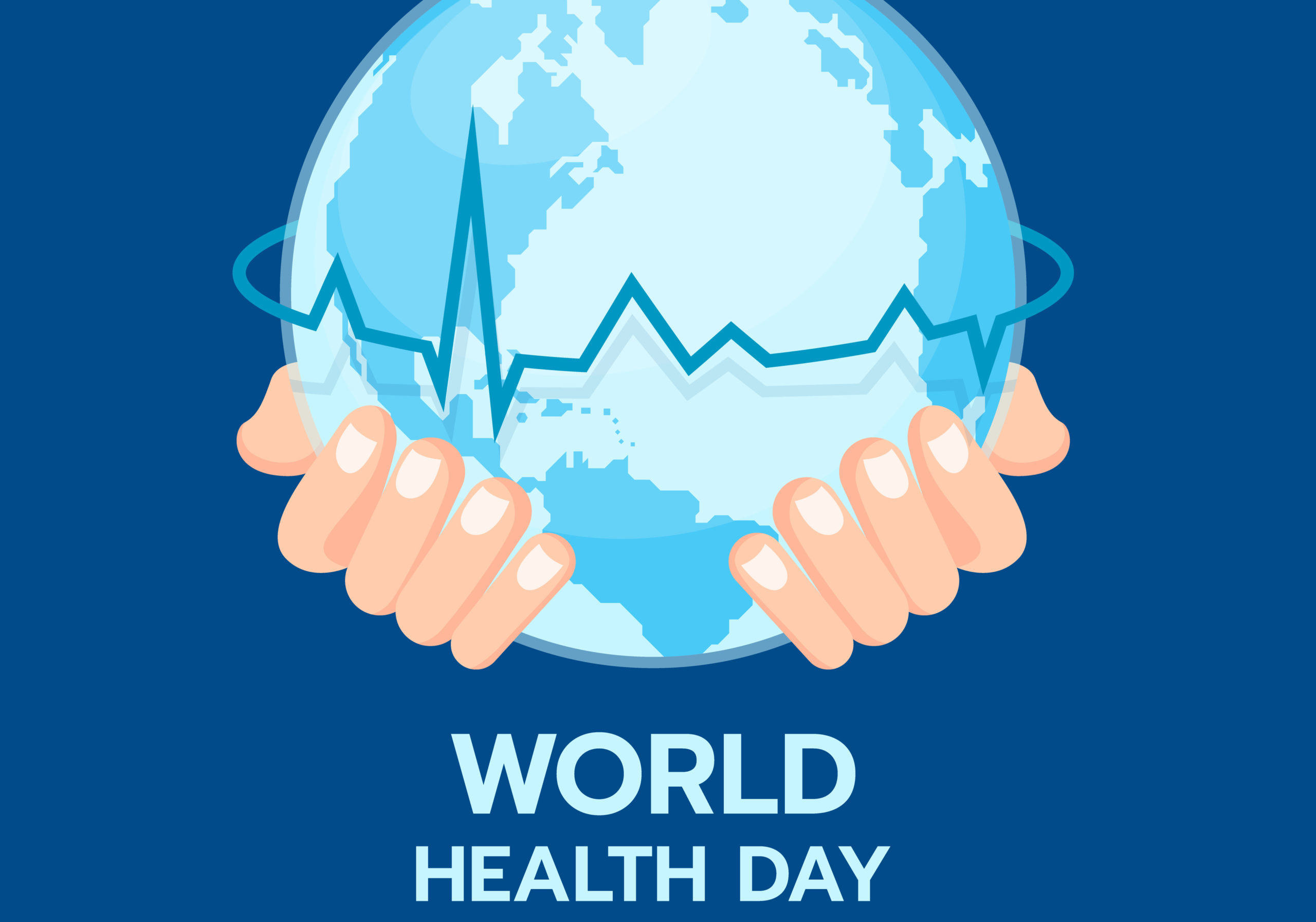 World health day banner with hand hold circle world and line heart wave around on blue background vector design