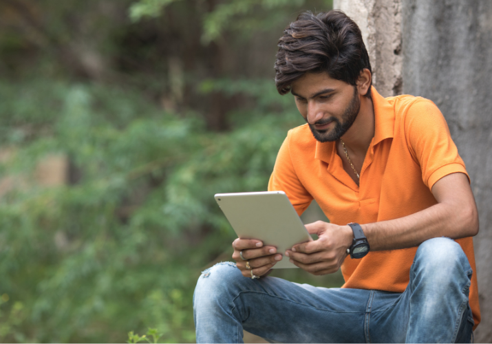 Indian Man on Tablet 2